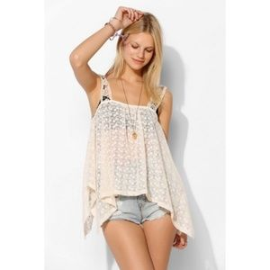 Anthropologie Embroidered Lace Tank Top